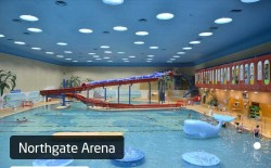 Kids Days Out Chester showing modern pool for all abilities, with slide and floats