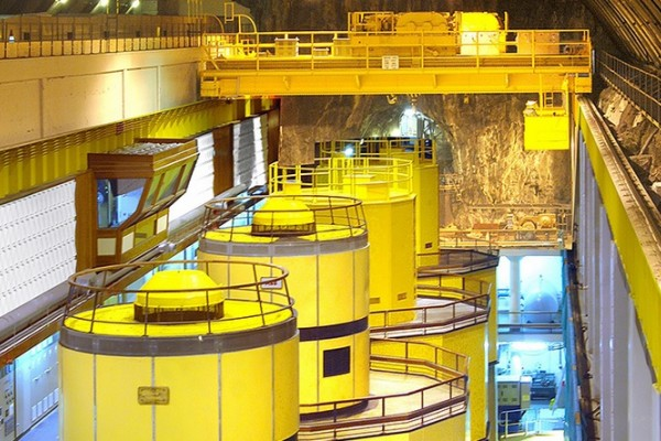 The underground Power Station painted in bright yellow