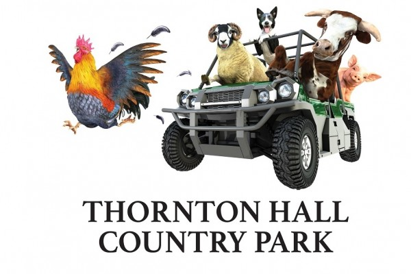 Image shows buggy at Park being driven by sheep, with dog, cow and pig as paseengers on their Kids Day Out